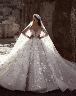 Gorgeous Long Sleeve Lace  Ball Gown Wedding Dress | Crystal Princess Bridal  Gown_2