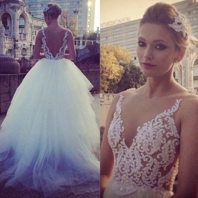 V Neck Sheer Appliques Pearls Beaded Tiers Tulle Ball Gown Wedding Dresses_3