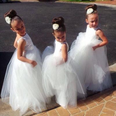 White Tulle Flower Girl's Dresses Puffy Skirt Long Girl's Formal Occasion Dresses