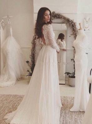 Sexy Chiffon Long-Sleeves Lace V-neck Wedding Dresses_2
