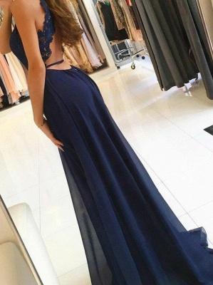 Elegant Dark Navy Evening Gowns | Halter Neck Backless Prom Dresses_3