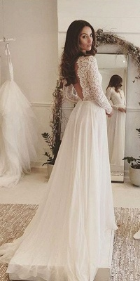 Sexy Chiffon Long-Sleeves Lace V-neck Wedding Dresses_3