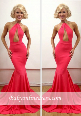 2018 Floor-Length Open-Back Sexy Mermaid Sleeveless Peach Evening Gowns_3