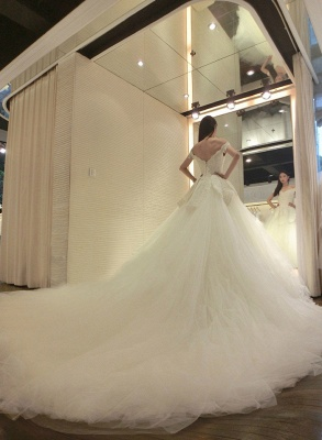 Newest Long Train Tulle Lace-Appliques Off-the-shoulder Beads Wedding Dress_3