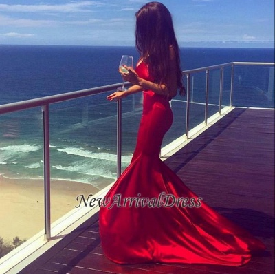 Newest Sleeveless Mermaid Prom Dress 2018 V-neck Red Sweep-Train Evening Gowns_1