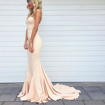 Simple Mermaid Prom Dresses Nude Color Sweetheart Neck Evening Gowns_4