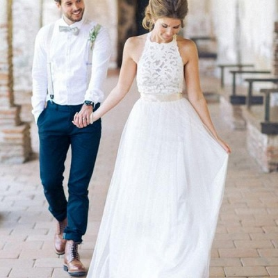Floor Length Lace Halter A-line Sashes Simple White Wedding Dresses_3