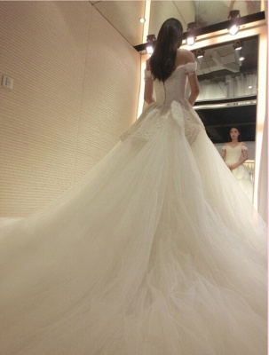 Newest Long Train Tulle Lace-Appliques Off-the-shoulder Beads Wedding Dress_4