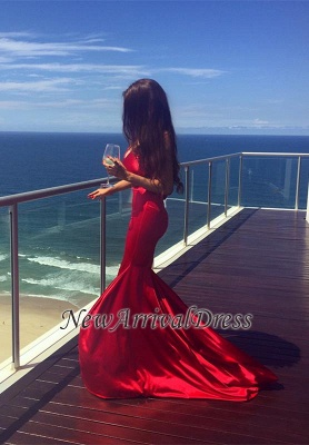Newest Sleeveless Mermaid Prom Dress 2018 V-neck Red Sweep-Train Evening Gowns_3