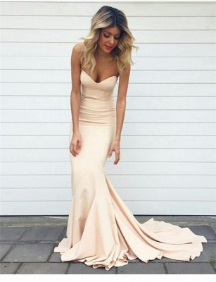 Simple Mermaid Prom Dresses Nude Color Sweetheart Neck Evening Gowns_3