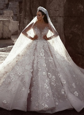 Gorgeous Long Sleeve Lace  Ball Gown Wedding Dress | Crystal Princess Bridal  Gown_1
