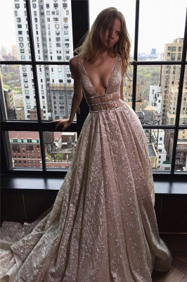 Shiny Evening Gowns Backless Deep-V-Neck Long Silver A-line Prom Dresses_1
