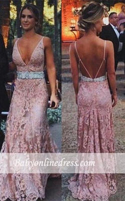 Sexy Zipper Lace Tulle Pink Long V-Neck Prom Dress with Beadings_1