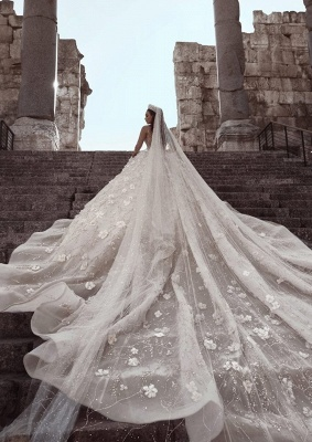 Gorgeous Long Sleeve Lace  Ball Gown Wedding Dress | Crystal Princess Bridal  Gown_5