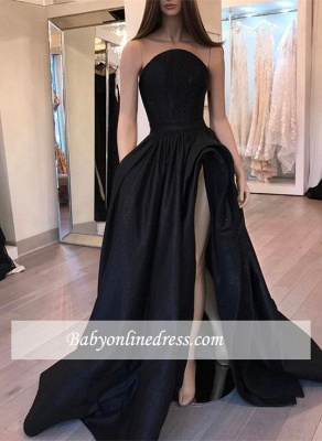 Stylish Slit Strapless Prom Dresses Designer Sleeveless Black Sexy Belt Evening Dresses_3