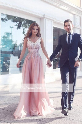 Pink A-Line Appliques Prom Dresses Floor-Length Sleeveless Evening Gowns_3