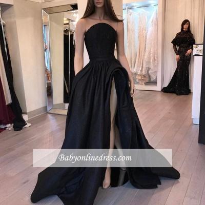 Stylish Slit Strapless Prom Dresses Designer Sleeveless Black Sexy Belt Evening Dresses_1