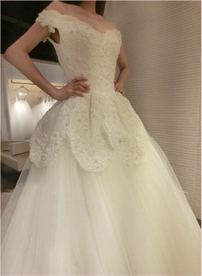 Newest Long Train Tulle Lace-Appliques Off-the-shoulder Beads Wedding Dress_2