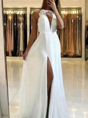 Elegant Dark Navy Evening Gowns | Halter Neck Backless Prom Dresses_4