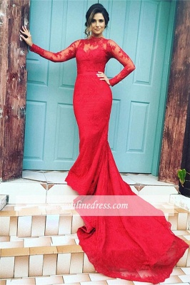 Long-Sleeves Mermaid Appliques Lace Long-Train Red High-Neck Evening Dresses_3
