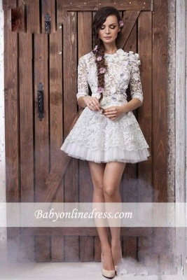 Sexy 3D-Floral Appliques Sheer Lace Half Long Sleeves Short Wedding Dresses_4