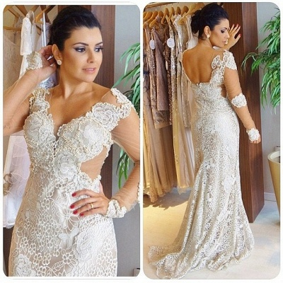 Gorgeous V-Neck Appliques Long Sleeves Sheath Wedding Dress_3