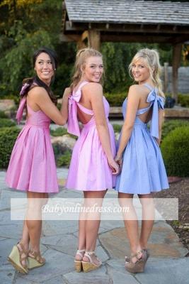 Cross Cheap Short Halter Back Bow Blue Bridesmaid Dresses_1