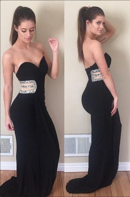Black Crystals Sleeveless Modest Sweetheart Mermaid Prom Dress_2