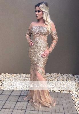 Beadings Glamorous Mermaid Long-Sleeve Prom Dress_3
