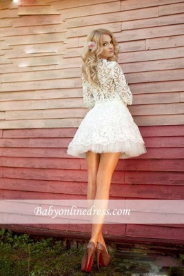 Sexy 3D-Floral Appliques Sheer Lace Half Long Sleeves Short Wedding Dresses_3