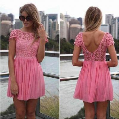 Pink Cocktail Dresses Lace Jewel Short Sleeves Mini Backless Chiffon Beautiful On Sale Short Prom Dresses BO2293_1