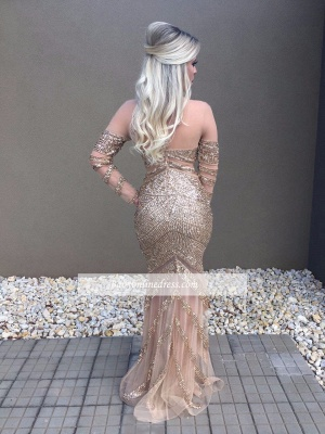 Beadings Glamorous Mermaid Long-Sleeve Prom Dress_2