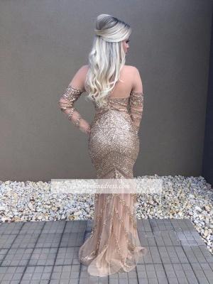 Beadings Glamorous Mermaid Long-Sleeve Prom Dress_1