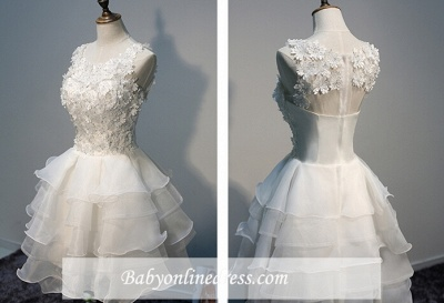 Sleeveless Lace-Appliques Lace Hot White Layers Organza Short Homecoming Dress_1