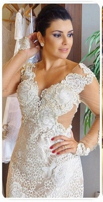 Gorgeous V-Neck Appliques Long Sleeves Sheath Wedding Dress_2