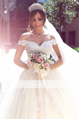 Amazing Lace Tulle Off-the-shoulder Appliques Puffy Wedding Dresses_1