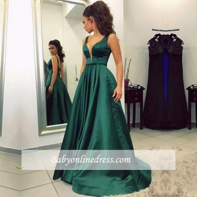 V-neck A-line Green Newest Sleeveless Backless Prom Dress_1