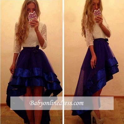 Newest Yoyal-Blue Tulle Hi-Lo Prom Dress A-Line White-Lace Evening Gowns_1