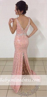 Crystal V-Neck Mermaid Evening Gowns Sequined Sleeveless Prom Dresses_3