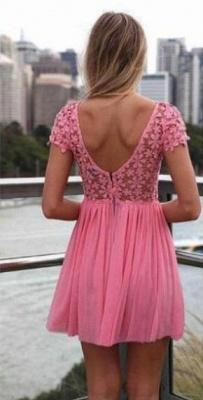Pink Cocktail Dresses Lace Jewel Short Sleeves Mini Backless Chiffon Beautiful On Sale Short Prom Dresses BO2293_3