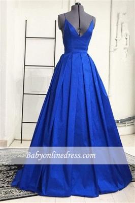 Royal Blue Spaghetti Straps A-Line Evening Dresses Open Back Prom Dresses_2
