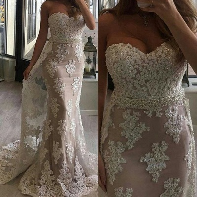 2018 Tulle Appliques Pearl Prom Dresses Mermaid Beaded Sweetheart with Train_3