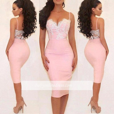 Glamorous Pink Mermaid Party Dress Spaghetti Straps Lace Prom Dress_1