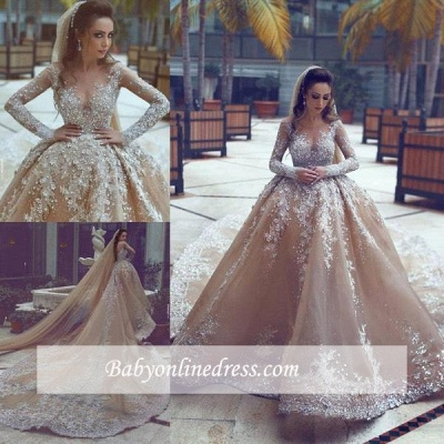Backless Lace Appliques  Beading Cathedral Ball Gown Wedding Dresses with Long Sleeves_1