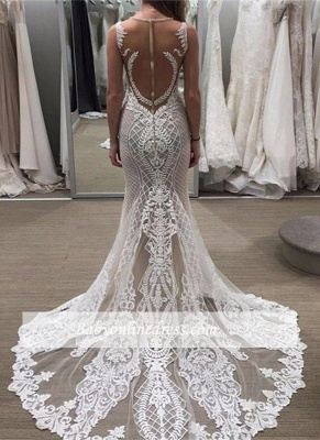 Delicate Lace Detachable-Train Sleeveless Illusion Wedding Dress with Zipper_3