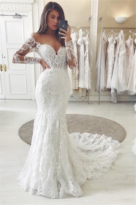 Fitted Lace Wedding Dresses Cheap | Sweetheart Bridal Gowns with Sleeves_1