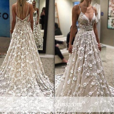 Gorgeous Sexy Spaghetti-Straps Bridal Gowns Flowers Backless Wedding Dresses_1