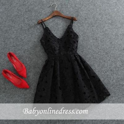 Short Mini Lace Cute White Spaghettis-Strap Homecoming Dress_1