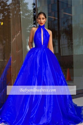 Tulle Royal-Blue High-Neck Evening Dress_4