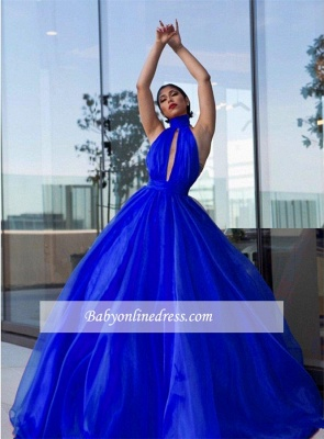 Tulle Royal-Blue High-Neck Evening Dress_3